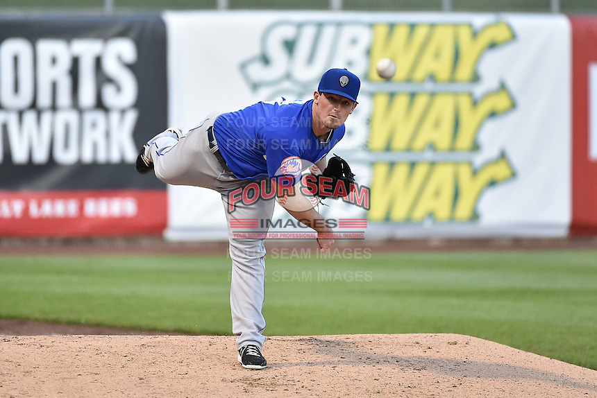 Las Vegas 51s relief pitcher Ryan Reid (43) \warms up in the bullpen during the game against the Salt Lake Bees at Smith's Ballpark on May 8, 2014 in Salt Lake City, Utah.  (Stephen Smith/Four Seam Images)