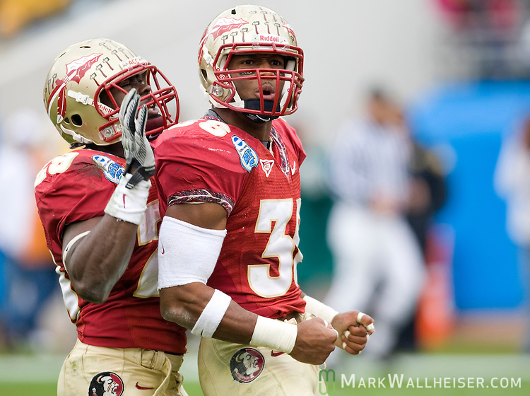 Florida State linebacker Dekoda Watson (36) celebrates a sack against West Virginia in the first half of the Konica Minolta Gator Bowl in Jacksonville, Florida January 1, 2010.