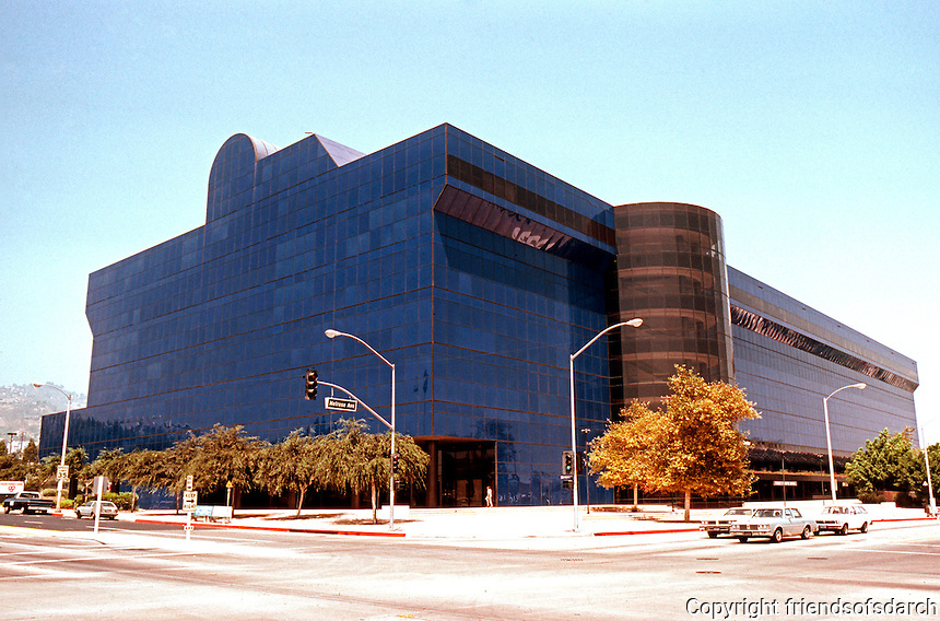 Cesar Pelli: Pacific Design Center, 3/4 elevation. San Vincent & Melrose. Photo '82.