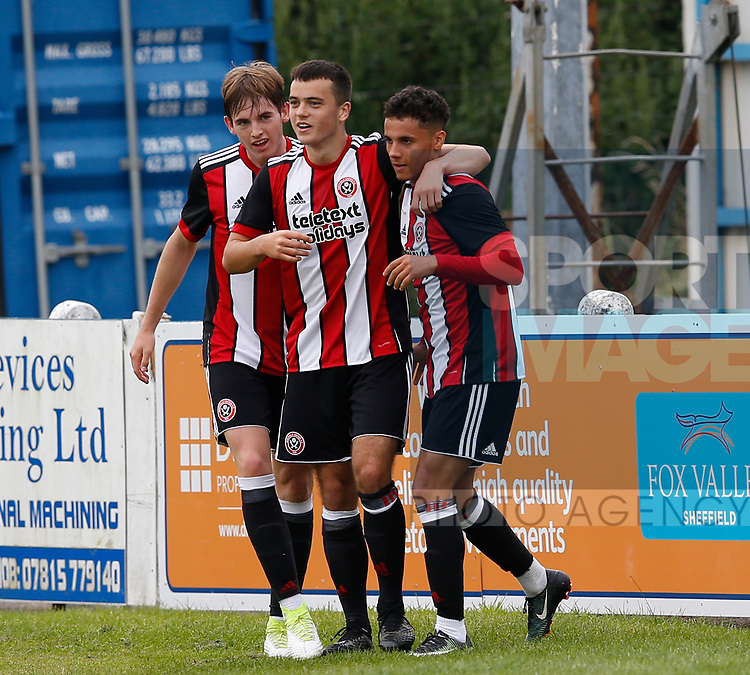 Tyler Smith of Sheffield Utd celebrates scoring the first goal during the professional development league two match at the Bracken Moor Stadium, Stocksbridge. Picture date 21st August 2017. Picture credit should read: Simon Bellis/Sportimage