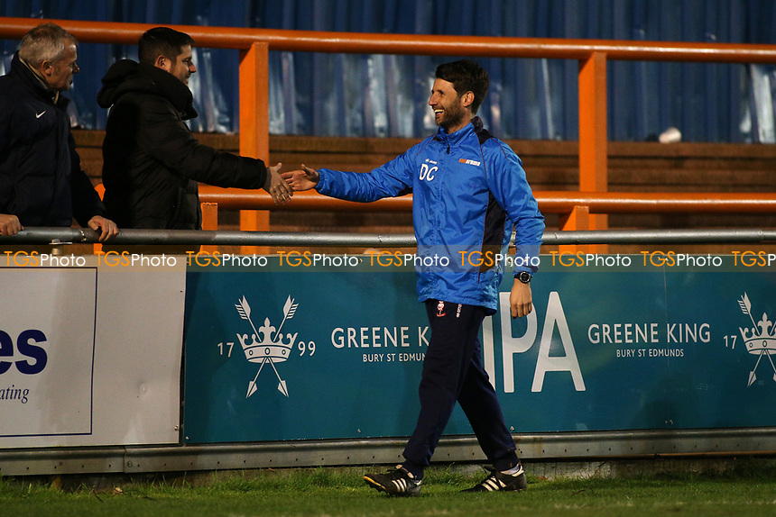 Lincoln City manager Danny Cowley thanks the travelling fans during Braintree Town vs Lincoln City, Vanarama National League Football at the IronmongeryDirect Stadium on 7th March 2017