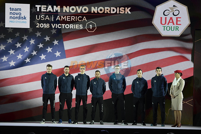 Team Novo Nordisk on stage at the inaugural UAE Tour 2019 opening ceremony and team presentation held in the Louvre Abu Dhabi, United Arab Emirates. 23rd February 2019.<br /> Picture: LaPresse/Fabio Ferrari | Cyclefile<br /> <br /> <br /> All photos usage must carry mandatory copyright credit (© Cyclefile | LaPresse/Fabio Ferrari)