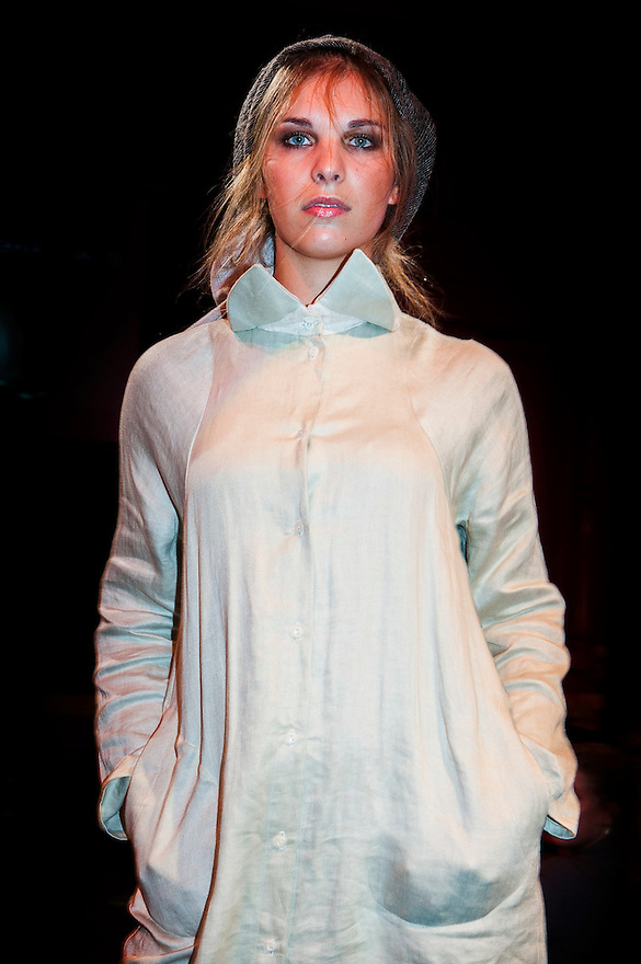 Nederland, Utrecht,  26 okt 2014<br /> Modeshow op het Fairfashion festival in de Winkel van Sinkel.<br /> Duurzame kleding, eko-mode.<br /> <br /> Foto: (c) Michiel Wijnbergh
