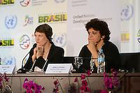 RIO DE JANEIRO-21/06/2012-Coletiva de imprensa com a Ministra do Meio Ambiente, Izabella Teixeira e Helen Clark, administradora do PNUD, na  Conferencia da ONU, no Rio Centro, zona oeste do Rio.Foto:Marcelo Fonseca-Brazil Photo Press