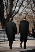 United States President Barack Obama and Prime Minister Nouri al-Maliki of Iraq walk away after participating in a wreath laying ceremony at the Tomb of the Unknown Soldiers at Arlington National Cemetery in Arlington, Virginia, Monday, December 12, 2011 in Arlington, Virginia..Credit: Olivier Douliery / Pool via CNP