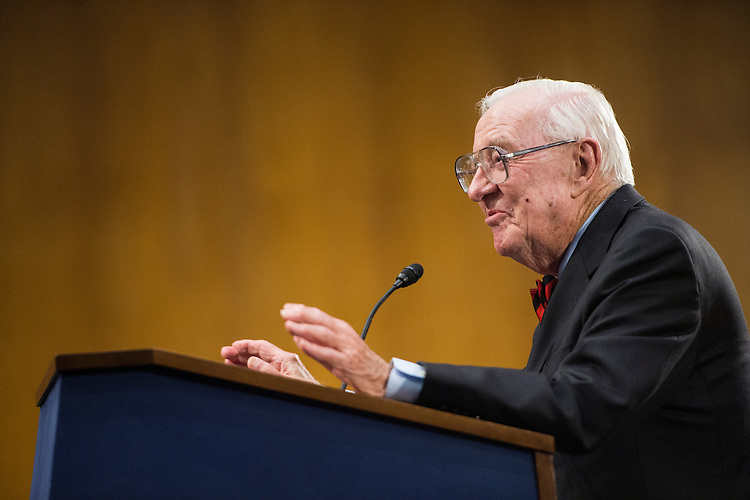 UNITED STATES - APRIL 29: Retired Supreme Court Justice John Paul Stevens speaks after receiving the Paul H. Douglas Award for Ethics in Government in the Dirksen Senate Office Building on Tuesday, April 29, 2014. (Photo By Bill Clark/CQ Roll Call)