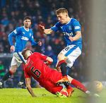 4.3.2018: Rangers v Falkirk Scottish Cup QF<br /> Joe McKee goes through Greg Docherty