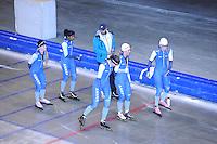 SCHAATSEN: HEERENVEEN: Thialf, 12-06-2012, Zomerijs, Miranda Dekker, Anice Das, trainer Dennis van der Gun, Marit Dekker, Letitia de Jong, Bo van der Werff, ©foto Martin de Jong