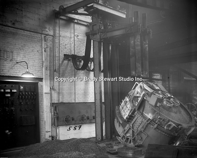 Pittsburgh PA:  View of Swindell Dressler Furnace at Allegheny Steel Company - 1932.  Swindell Dressler International Company was based in Pittsburgh, Pennsylvania. The company was founded by Phillip Dressler in 1915 as American Dressler Tunnel Kilns, Inc.  In 1930, American Dressler Tunnel Kilns, Inc. merged with William Swindell and Brothers to form Swindell-Dressler Corporation. The Swindell brothers designed, built, and repaired metallurgical furnaces for the steel and aluminum industries. The new company offered extensive heat-treating capabilities to heavy industry worldwide.