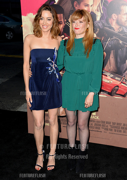 Aubrey Plaza &amp; Natasha Lyonne at the Los Angeles premiere for &quot;Baby Driver&quot; at the Ace Hotel Downtown. <br /> Los Angeles, USA 14 June  2017<br /> Picture: Paul Smith/Featureflash/SilverHub 0208 004 5359 sales@silverhubmedia.com