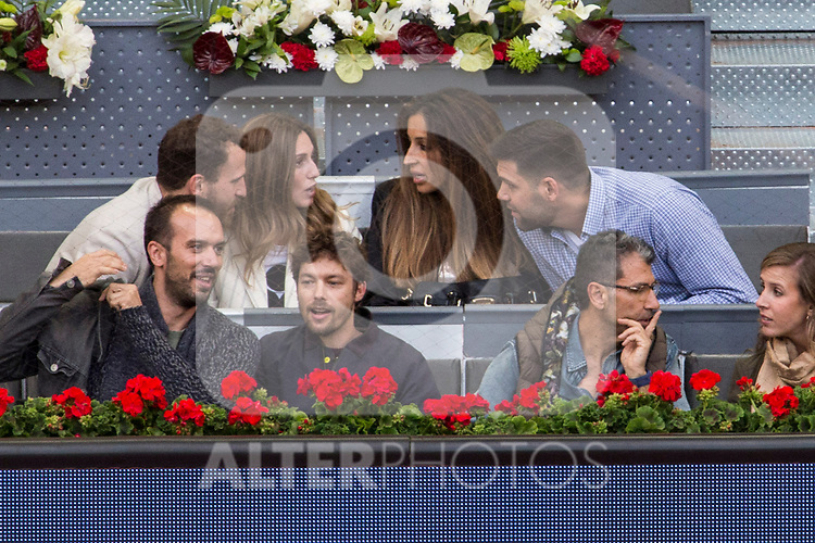 Sergio el Chacho Rodriguez and his girlfriend, and Felipe Reyes and his wife during the Mutua Madrid Open Tennis 2017 at Caja Magica in Madrid, May 12, 2017. Spain.
