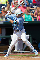 North Carolina outfielder Michael Russell (5) at bat during Game 3 of the 2013 Men's College World Series against the North Carolina State Wolfpack at TD Ameritrade Park on June 16, 2013 in Omaha, Nebraska. The Wolfpack defeated the Tar Heels 8-1. (Andrew Woolley/Four Seam Images)