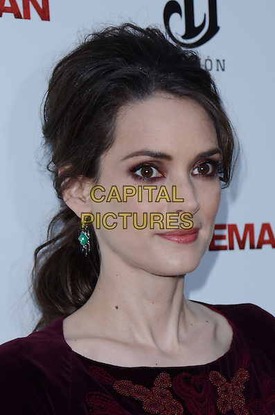 Winona Ryder.The premiere of 'The Iceman' at ArcLight Hollywood, Hollywood, California, USA..April 22nd 2013.headshot portrait smokey eyes eyeshadow make-up beauty red maroon burgundy velvet  .CAP/ADM/TW.©Tonya Wise/AdMedia/Capital Pictures.