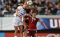 Jacksonville, FL - Thursday April 5, 2018: Lindsey Horan, Cristina Ferral during an International friendly match versus the women's National teams of the United States (USA) and Mexico (MEX) at EverBank Field.
