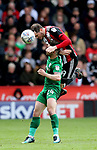 Richard Stearman of Sheffield Utd heads clear of Sean Maguire of Preston North End during the championship match at the Bramall Lane Stadium, Sheffield. Picture date 28th April 2018. Picture credit should read: Simon Bellis/Sportimage