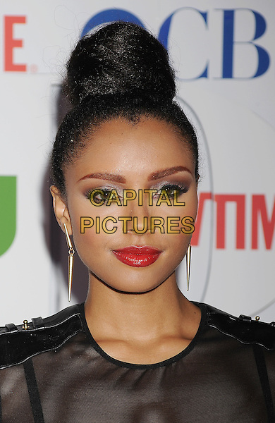 Katerina Graham.arriving at the TCA Party for CBS, The CW and Showtime held at The Pagoda in Beverly Hills, California, USA,.August 3rd, 2011. .portrait headshot hair up bun red lipstick make-up beauty see through black sheer see-thru.CAP/ROT/TM.©TM/Roth Stock/Capital Pictures
