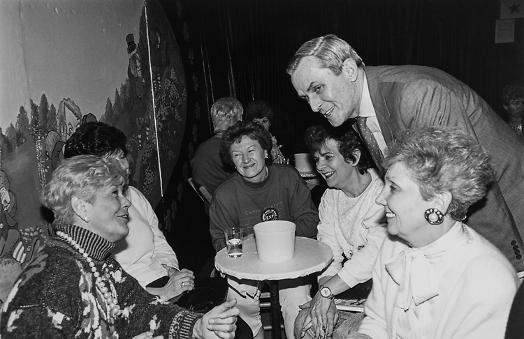 Rep. Bill Lipinski, D-Ill., chats with a constituents at St. Linus Catholic Church in South Chicago. Large money raiser for the Parish, about 1500-2500 people attended the envent on Feb. 29, 1992. (Photo CQ Roll Call via Getty Images)