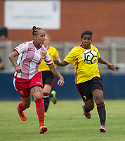Cherrelle 'Chez' Albert of Watford Ladies & Dom Godbeer of Stevenage Ladies during the pre season friendly match between Stevenage Ladies FC and Watford Ladies at The County Ground, Letchworth Garden City, England on 16 July 2017. Photo by Andy Rowland / PRiME Media Images.