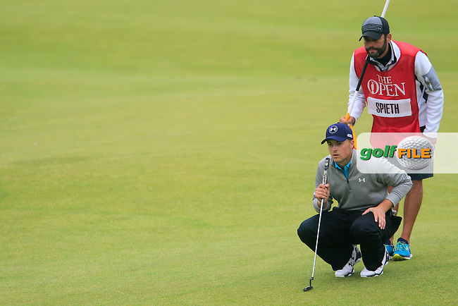 Jordan Speith (USA) on the 18th during the final round on Monday of the 144th Open Championship, St Andrews Old Course, St Andrews, Fife, Scotland. 20/07/2015.<br /> Picture: Golffile | Fran Caffrey<br /> <br /> <br /> All photo usage must carry mandatory copyright credit (&copy; Golffile | Fran Caffrey)