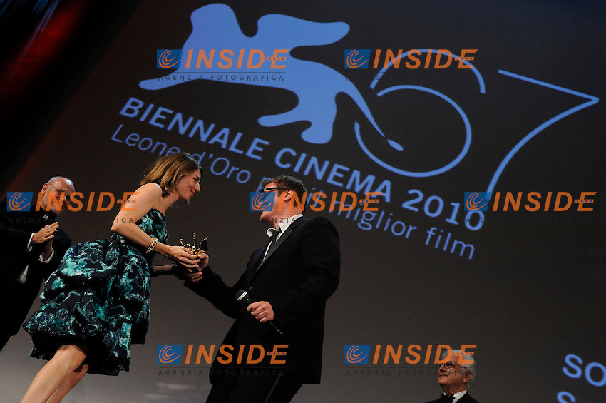 """- """"67 Mostra Internazionale D'Arte Cinematografica"""". Saturday,2010 September 11, Venice ITALY....- In The Picture: The film directores Quentin Tarantino and Sophia Coppola at the Awards of the 67th Venice Film Festival. ......Photo STEFANO MICOZZI"""
