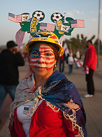 United States fan Alcira Backer, and American who currently lives in Pretoria, South Africa outside the Royal Bafokeng Stadium before the 2010 World Cup first round match between USA and England in Rustenberg, South Africa on Saturday, June 12, 2010.