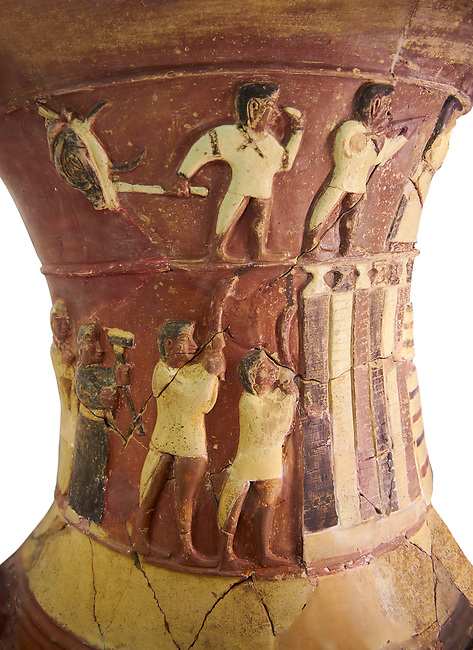 Hüseyindede vases, Old Hittite Polychrome Relief vessel close up  depicting top and second friezes showing a procession of musicians and dancers moving towards a temple building, 16th century BC. Huseyindede. Çorum Archaeological Museum, Corum, Turkey. Against a white bacground.