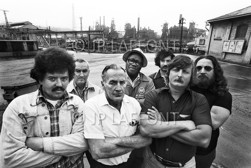 Bradock, PA. June 6th, 1980.<br /> Workers have just been laid off form ther jobs at the US Steel Plant of Braddock..
