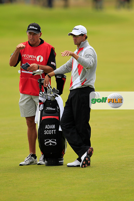 Adam Scott (AUS) and caddy Steve Williams on the 14th hole during Thursday's Round 1 of the 141st Open Championship at Royal Lytham & St.Annes, England 19th July 2012 (Photo Eoin Clarke/www.golffile.ie)