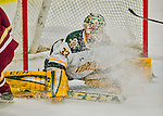 20 February 2016: University of Vermont Catamount Goaltender Packy Munson, a Freshman from Hugo, MN, gets sprayed with ice during third period play against the Boston College Eagles at Gutterson Fieldhouse in Burlington, Vermont. The Eagles defeated the Catamounts 4-1 in the second game of their weekend series. Mandatory Credit: Ed Wolfstein Photo *** RAW (NEF) Image File Available ***