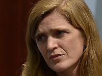"Washington, DC - December 8, 2014: Ambassador Samantha Power, U.S. Permanent Representative to the United Nations, speaks at the ""Smart Women, Smart Power"" event series held the Center for Strategic and International Studies, December 8, 2014. The series celebrates the achievements and contributions of women leaders at the forefront of international business and global affairs.  (Photo by Don Baxter/Media Images International)"