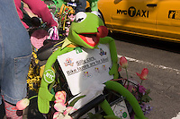 New York, NY 15 March 2008 - BIKE LANE LIBERATION CLOWN RIDE - A  troop of cyclists dressed like clowns, warn drivers illegally parked in Manhattan's bike lanes.  Photo: Kermit the Frog, wearing a clown nose,  adorns the rear of one bicycle in the Clown Brigade.