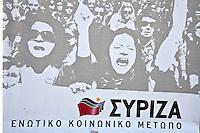 Elezioni in Grecia.  Manifestazione finale di Syriza prima delle elezioni legislative, 14 giugno a Atene in piazza Omonia. Manifesto di Syriza.