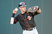 Catcher Chase Weems (8) of the Delmarva Shorebirds before in a game against the Greenville Drive on Monday, April 29, 2013, at Fluor Field at the West End in Greenville, South Carolina. Greenville won, 3-1. (Tom Priddy/Four Seam Images)