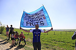 Tornado Tom Boonen fan on pave sector 25 Briastre a Solesmes during the 115th edition of the Paris-Roubaix 2017 race running 257km Compiegne to Roubaix, France. 9th April 2017.<br /> Picture: Eoin Clarke | Cyclefile<br /> <br /> <br /> All photos usage must carry mandatory copyright credit (&copy; Cyclefile | Eoin Clarke)