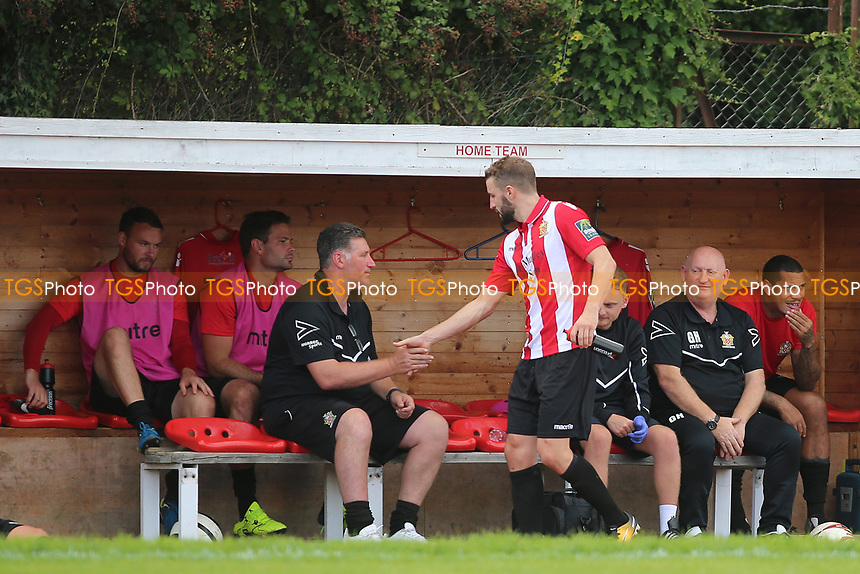 Brad Warner is substituted during AFC Hornchurch vs Soham Town Rangers, Bostik League Division 1 North Football at Hornchurch Stadium on 12th August 2017