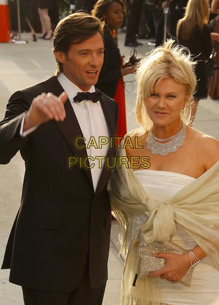 HUGH JACKMAN & DEBORAH-LEE FURNESS.The 2007 Vanity Fair Oscar Party Hosted by Graydon Carter held at Morton's, West Hollywood, California, USA,.25 February 2007..half length.CAP/ADM/GB.©Gary Boas/AdMedia/Capital Pictures.