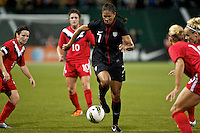 USWNT midfielder Shannon Boxx in action. USWNT played played a friendly against Canada at JELD-WEN Field in Portland, Oregon on September 22, 2011.