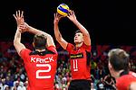 14.09.2019, Paleis 12, BrŸssel / Bruessel<br />Volleyball, Europameisterschaft, Deutschland (GER) vs. Belgien (BEL)<br /><br />Tobias Krick (#2 GER), Zuspiel Lukas Kampa (#11 GER)<br /><br />  Foto © nordphoto / Kurth