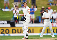 2nd December, Hamilton, New Zealand; England's Joe Root celebrates his double century on day 4 of the 2nd test cricket match between New Zealand and England  at Seddon Park, Hamilton, New Zealand.