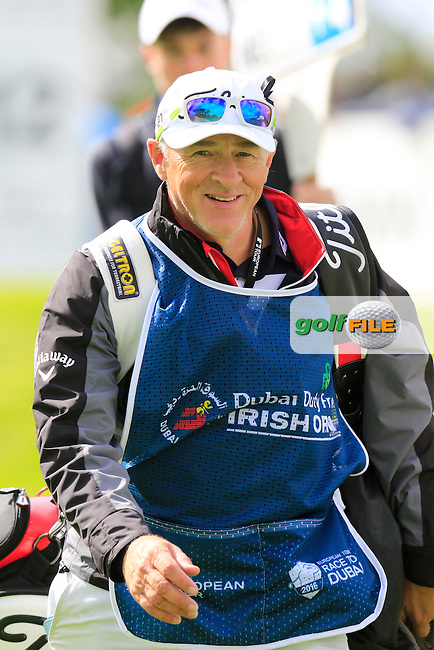Michael Hoey (NIR) caddy Gerry Byrne on 12th hole during Thursday's Round 1 of the 2016 Dubai Duty Free Irish Open hosted by Rory Foundation held at the K Club, Straffan, Co.Kildare, Ireland. 19th May 2016.<br /> Picture: Eoin Clarke | Golffile<br /> <br /> <br /> All photos usage must carry mandatory copyright credit (&copy; Golffile | Eoin Clarke)