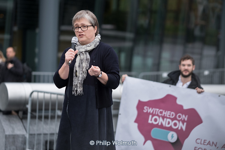 Caroline Russell, Green Party Assembly Member.  Londoners protest outside City Hall  to demand Sadiq Khan keeps his climate promises.