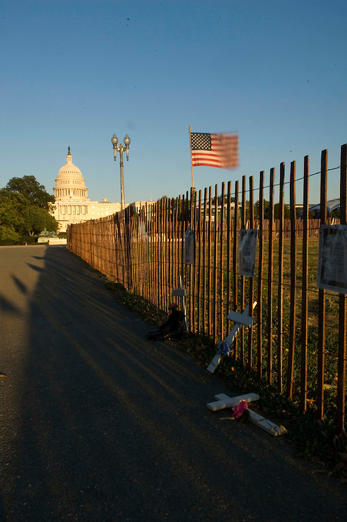 WASHINGTON, DC - Sept. 28: Displays near the West Front of the U.S. Capitol, set up by the Troops Out Now Coalition in memory of soldiers killed in Iraq, in preparation for the coalition's Sept. 29 March on Washington. (Photo by Scott J. Ferrell/Congressional Quarterly).