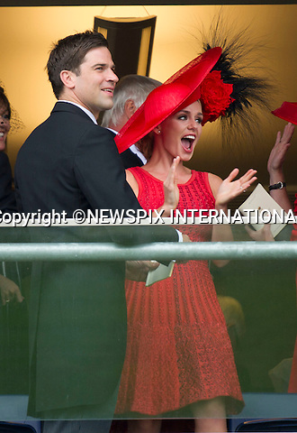 """ROYAL ASCOT 2011 DAY 2..Katherine Jenkins and Gethin Jones celebrate winning.  Royal Ascot_14/06/2011..Mandatory Photo Credit: ©Dias/Newspix International..**ALL FEES PAYABLE TO: """"NEWSPIX INTERNATIONAL""""**..PHOTO CREDIT MANDATORY!!: NEWSPIX INTERNATIONAL(Failure to credit will incur a surcharge of 100% of reproduction fees)..IMMEDIATE CONFIRMATION OF USAGE REQUIRED:.Newspix International, 31 Chinnery Hill, Bishop's Stortford, ENGLAND CM23 3PS.Tel:+441279 324672  ; Fax: +441279656877.Mobile:  0777568 1153.e-mail: info@newspixinternational.co.uk"""