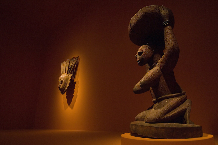 More then 80 works from the World-renowned Walt Disney-Tishman African Art Collection are on display at the Smithsonian National Museum of African Art. LtoR A mask from the Yoruba peoples of Nigeria from the late 19th century. Female figure from the Yoruba peoples of Nigeria from the late 19th century.