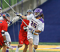 Albany defender Stone Sims (#25) passes the ball as UAlbany Men's Lacrosse defeats Richmond 18-9 on May 12 at Casey Stadium in the NCAA tournament first round.