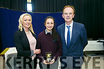 Yasmin McGrath who achieved highest Junior Cert marks award at the Coláiste Gleann Lí awards on Friday afternoon with mom Linda McGrath and Principal Richard Lawlor