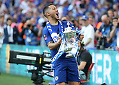 19th May 2018, Wembley Stadium, London, England; FA Cup Final football, Chelsea versus Manchester United; Eden Hazard of Chelsea celebrates holding up the FA Cup towards the Chelsea fans
