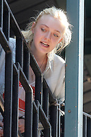 """Dakota Fanning on the set of """"Very Good Girls"""" in Brooklyn, New York, 12.07.2012...Credit: Rolf Mueller/face to face /MediaPunch Inc. ***FOR USA ONLY*** ***Online Only for USA Weekly Print Magazines*** /*NORTEPHOTO*<br /> **SOLO*VENTA*EN*MEXICO**<br /> **CREDITO*OBLIGATORIO** <br /> **No*Venta*A*Terceros**<br /> **No*Sale*So*third**<br /> *** No*Se*Permite Hacer Archivo**<br /> **No*Sale*So*third**"""