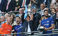Chelsea manager Antonio Conte  lifts the trophy<br /> <br /> Photographer Rob Newell/CameraSport<br /> <br /> Emirates FA Cup Final - Chelsea v Manchester United - Saturday 19th May 2018 - Wembley Stadium - London<br />  <br /> World Copyright &copy; 2018 CameraSport. All rights reserved. 43 Linden Ave. Countesthorpe. Leicester. England. LE8 5PG - Tel: +44 (0) 116 277 4147 - admin@camerasport.com - www.camerasport.com