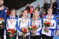 "SHORT TRACK: MOSCOW: Speed Skating Centre ""Krylatskoe"", 15-03-2015, ISU World Short Track Speed Skating Championships 2015, Podium Relay Ladies, ITALY, ©photo Martin de Jong"